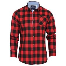 Mens Check Shirt Brave Soul Flannel Brushed Cotton Long Sleeve Casual Top Jack - Red XX Large