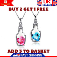 New Fashion Heart Crystal Pendant Necklace Silver Chain Womens Jewellery Gift Uk