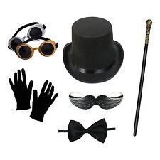 Para Hombre Steampunk Costume Set (sombrero, gafas, guantes, bastón, pajarita, bigote)