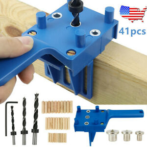 41PC Doweling Jig Drill Guide Handheld Woodworking Wood Dowel Hole Drilling Tool