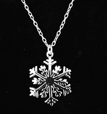 New SNOWFLAKE NECKLACE Solid .925 Sterling Silver Snowflake Pendant Necklace 18""