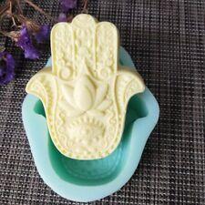 Hamsa Lotus in The Palm Silicone Soap Mold DIY Hand of Fatima Mascot Clay Mould