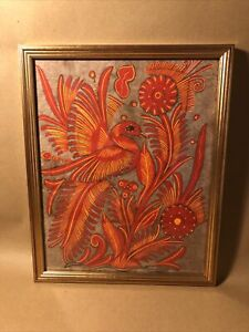 Native American Hide Painting Of Bird In Gold Frame