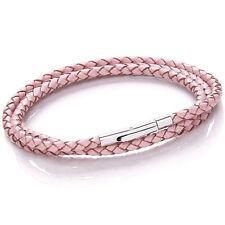 Tribal Steel 19cm Pink Bolo Plaited Wrap-around Leather Bracelet / Necklace