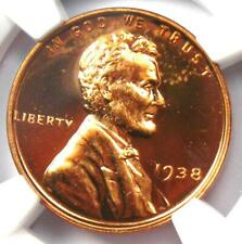 1938 Proof Lincoln Wheat Cent 1C - NGC PR66 RD (PF66 Red) - Toned - $425 Value