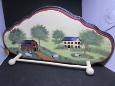 Wooden Hand Painted Towel Holder - Cute Farm Scene