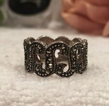 VINTAGE STERLING SILVER & MARCASITE RING-CUT OUT DESIGN-UK Size L 1/2-US: 5 7/8