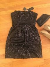 BCBG MAX AZRIA Womens Little Black Strapless Sequins Cocktail Dress - 4 Petite