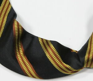 Kiton Black/Gold/Orange Striped Thick 7 Fold Smooth Silk Italy Necktie Tie
