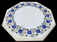 18 Inches Lapis Lazuli Stone Inlay Side Table Top White Marble Coffee Table Top