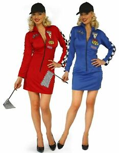 Ladies 3 Piece Red Sexy Racer Girl Gran Prix Formula One Fancy Dress Size 12-14