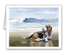 BASSET HOUND AT THE BEACH Set of 10 Note Cards With Envelopes