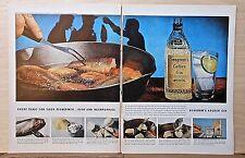 1958 magazine ad for Seagram's Gin, Tonic for fishermen, Hushpuppies, fish & gin