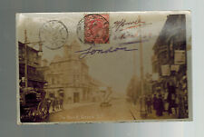 1908 London England to Pekin China RPPC Postcard Cover French Colonial Soldier