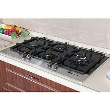 "Fashion 35"" Black Tempered Glass Built-in Kitchen 4 Burner Gas Top Hob Cooktops"