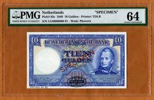 Specimen, Netherlands, 10 Gulden, 1949, P-83s, PMG-64, TDLR, Choice UNC