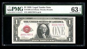 DBR 1928 $1 Legal Fr. 1500 PMG 63 EPQ Serial A00317957A
