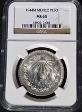1944 M Mexico Peso NGC MS 65, Brilliant White, 085