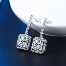 18K White Gold Filled GF Made with Swarovski Crystal Drop Dangle Earrings