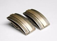Vintage Mexico Sterling Silver Modernist Rectangle Bar Clip Earrings
