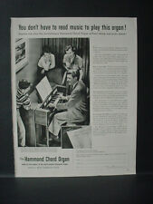 1952 Hammond Chord Organ Family enjoys together Vintage Print Ad 11520