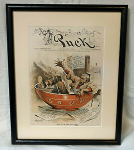 1899 Puck Magazine Cover Cartoon Who Is In The Soup Now by Dalrymple - Framed