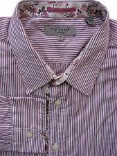 TED BAKER Shirt Mens 17 L Burgundy & White Stripes - TEXTURED