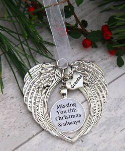 Angel Wings Pendant Memorial Christmas Gift Tree Decoration Mum Dad Grandad Gran