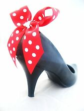 Minnie Mouse Shoe clips For Shoes Fancy Dress Red White Polkadot Bow Clips Pair