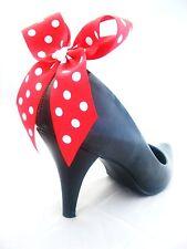 MINNIE MOUSE COSTUME per Scarpe Shoe Clip Rosso Bianco Polkadot Bow Clip Coppia