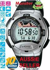 AUSSIE SELLER CASIO W-753-1AV W753 FISHING WATCH TIDE GRAPH 12 MONTH WARANTY