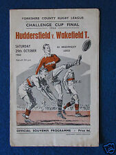 Rugby League Challenge Final Programme-Huddersfield v Wakefield Trinity-29/10/60