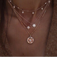 NEW 2018 Choker Necklace Gold Pendant Star Coin Chain Multi-Layer Women Jewelry