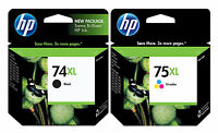 GENUINE NEW HP 74XL 75XL (CB336WN/CB338WN) Black Color Ink Cartridge 2-Pack