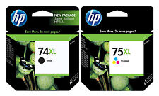 GENUINE NEW HP 74XL 75XL (CB336WN/CB338WN) Black Color Ink Cartridge 2-Pack