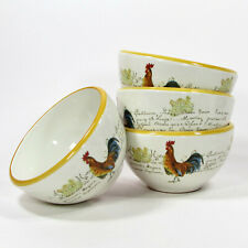 """Williams-Sonoma ROOSTER SCRIPT 20oz Soup Cereal 5.75"""" Bowl Set 4Pc Italy Yellow"""