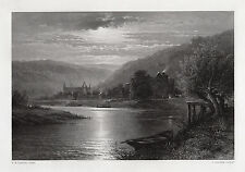"SIGNED 1800s Benjamin Williams LEADER Engraving ""Tintern Abbey by Moonlight"" COA"