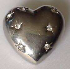 broche cœur couleur argent bombé incrusté de solitaire cristaux diamant 436