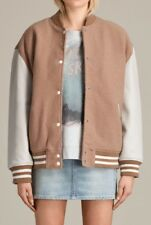 All Saints Base Bomber With Leather Sleeves. Oversized. Oyster. Size M Medium