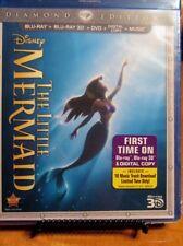 The Little Mermaid (Blu-ray 2D,3D/DVD,Digital 2013,3-Disc Set,Diamond Ed) NEW