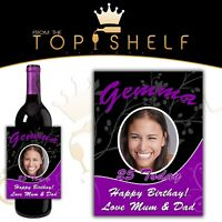 personalised wine photo bottle label birthday, any occasion