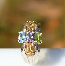 Pd marked size 9.5 Sterlig 925 genuine gemstones maltese cr design 6.6g Ring