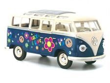 "7"" Kinsmart 1962 VW Volkswagen Bus Decal Diecast Model Toy Car Van 1:24 Blue"