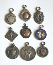 9 Vintage HM Silver, 9ct Rose Gold & Enamel Watch Fobs/ Medals - Sports Awards