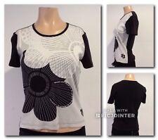 Mexx T-Shirt Baumwolle Schwarz Weiß Muster Tailliert  Gr S Top
