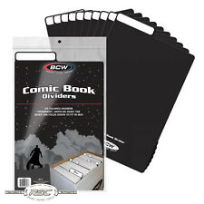 25 - BCW Black Plastic Comic Book Dividers - Fold Down Index Tab - New Design!