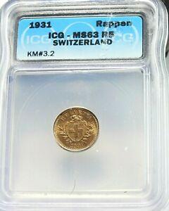 1931 Switzerland 1 Rappen ICG MS63 RD KM#3.2 (125)