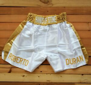 BOXING TRUNKS Roberto Duran Hand of stone White Golden SHORTS Pants size L rare