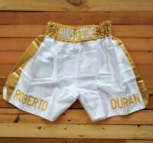 BOXING TRUNKS Roberto Duran Hand of stone White Golden SHORTS Pants size L rare