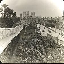 Antique Keystone Magic Lantern Glass Slide York England Horse Drawn Wagons